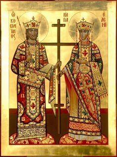 Constantina and Helen Sf Constantin, Roman Church, Saint Helens, Byzantine Icons, Art Icon, Knights Templar, Orthodox Icons, Religious Art, Middle Ages