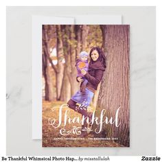 Be Thankful Whimsical Photo Happy Thanksgiving Holiday Card   Zazzle.com