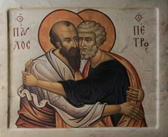 St Paul and St Peter embracing Icon Byzantine Icons, Byzantine Art, Religious Icons, Religious Art, Life Of Jesus Christ, Church Icon, Russian Icons, Jesus Art, Art Icon