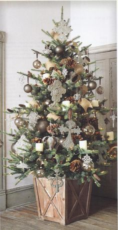 Christmas In July — Providence Design. Rustic vintage crosses Xmas tree country woodland in container