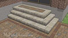 "Patio Step Design for Corner - 3 Steps - 94"" Wide Stoop – MyPatioDesign.com"