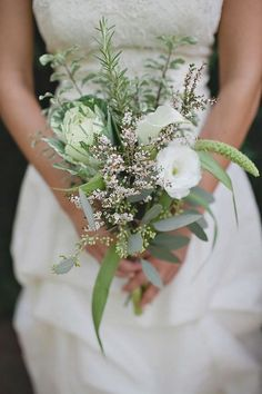 Greenery wedding bouquets are one of the hottest wedding trends in and they really bring a fresh touch to any bridal look. Such bouquets are suitable for woodland, rustic, vintage and any type of outdoor wedding. Small Wedding Bouquets, Rustic Wedding Flowers, Bridal Flowers, Flower Bouquet Wedding, Floral Wedding, Bridal Bouquets, Flower Bouquets, Bridesmaid Flowers, Herb Bouquet