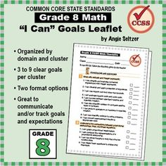 """Grade 8 FREE """"I Can"""" Leaflet of Goals for Common Core Math"""