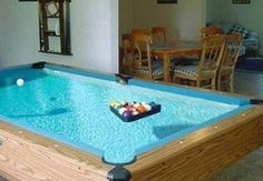 A POOL table! 32 Things You Need In Your Man Cave: a pool table that is also a pool Billard Design, Crazy Pool, Woman Cave, My Dream Home, Swimming Pools, Sweet Home, Indoor Outdoor, House Design, Cool Stuff