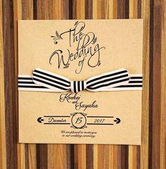結婚式 招待状【スクリプトヴィンテージ・ストライプ】カリグラフィーの文字とクラフト紙を合わせて、ストライプで仕上げたデザイン❤ スクエアの正方形で見積りは表紙に二人の名前を印字できます♪ by チーフ・アートディレクター おがってい   WEBDING|ウェブディングでは148種類の招待状がHPから無料サンプル請求OK!、日本橋店ではペーパー相談会随時開催中(予約優先 03-3527-3868) #ウェディング #ペーパーアイテム #結婚式 #結婚式招待状 #手作り #DIY