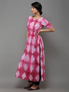 Pink Grey Tie and Dye Cotton Kurti