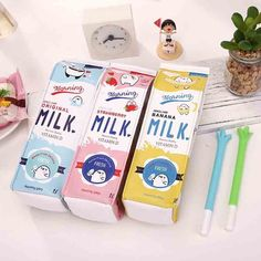 Słodkie Korea Kawaii Piórnik Piórnik Szkoła dla Dziewcząt Chłopców Skórzane Mleka Pen Box Pencilcase Torba Szkolne Papiernicze