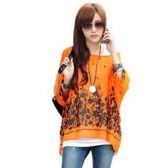 Blusa Floral impreso para Mujer-Naranja