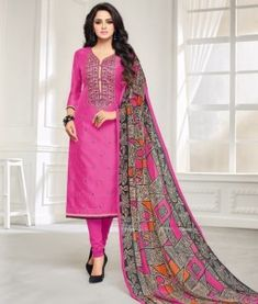7b3d331bdc Buy Elegant Pink Colored Casual Embroidered Chanderi Silk Suit at Rs. Get  latest Casual suit and dress materials ✓Genuine Products ✓ Easy Returns ✓  Best ...
