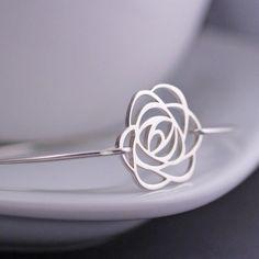 Rose Bracelet, Rose Jewelry, Rose Bangle Bracelet, Sterling Silver Flower Bracelet, Bridesmaid Gift via Etsy