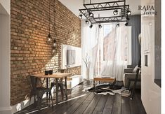 Mieszkanie w odrestaurowanej kamienicy z klimatem loft   Proj: Rapa Living   IH - Internity Home Loft, Studio Apartment, Patio, Curtains, Living Room, Outdoor Decor, House, Interiors, Design