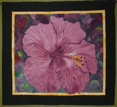 """hibiscus flower - from website:  From Teresa: """"Hafa Adai is a greating in Chamorro, the language of Guam. The island is filled with naturaly growing hibiscus bushes of all colors. This quilt was dye painted and thread embellished."""""""