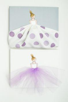 Set of 2 Lavender Nursery Artwork - Custom Designed by ShenasiConcept - girls room - ballerina