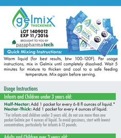 Gelmix Thickener Stick-pack Mixing Instructions and Usage Guide