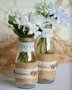 Rustic Wedding Centerpiece Vase Set, Burlap and Lace Mason Glass Vase, Country or Barn Wedding Decor Set of 2 or 4 Mason Vases ( 9 oz. and 13 oz ) decorated with burlap, twine and lace for the perfect Wedding Vase Centerpieces, Barn Wedding Decorations, Wedding Vases, Baby Shower Decorations, Wedding Table, Wedding Rustic, Wedding Ceremony, Centerpiece Decorations, Wedding Ideas For Tables