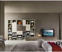 Spectacular Gro e Design Wohnwand C von Livitalia aus Italien mit B cherregal und Tv Lowboard Wohnwand