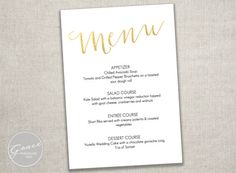 Simply Sweet Menu Template / Printable DIY Instant Download / 4x8