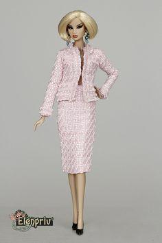 ELENPRIV pale pink tweed SKIRT for Fashion royalty FR2 by elenpriv