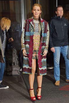 Blake Lively.. Valentino Fall 2015 Lace Coat, and Valentino Fall 2015 Dress..