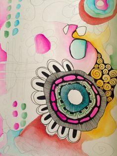 Work in progress. watercolour doodle art journal page Doodles Zentangles, Zentangle Patterns, Doodle Art Journals, Art Journal Pages, Art Journaling, Mix Media, Art Journal Inspiration, Journal Ideas, Mandala
