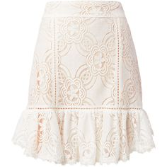 Chantilly Lace Frill Skirt ❤ liked on Polyvore featuring skirts, lace ruffle skirt, white lace skirt, white ruffle skirt, flouncy skirt and ruffle skirt