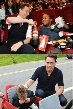 Tom with kids and RDJ with kids. ( ok, but the little boy is crying, cos RDJ didn't have his Iron Man on!! )