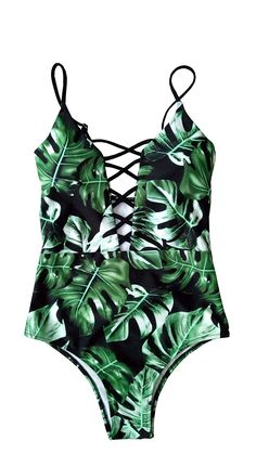fb5a8a61ff07a Swimwear Women's One Piece Criss Bandage Swimsuit Solid Color Floral Print  Monokini - Print in Green - CT12NZHR274