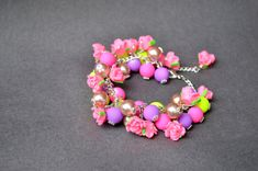 Summer Pink Rose polymer clay bead bracelet and earrings set, colourful beaded bracelet, colourful beaded earrings