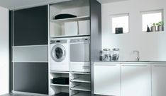 Love the laundry room.clean and lots of storage space Mud Room Garage, Laundry Design, Laundry Room Inspiration, Bathroom Layout, Kitchen Interior, Storage Spaces, Home Projects, Sweet Home, New Homes