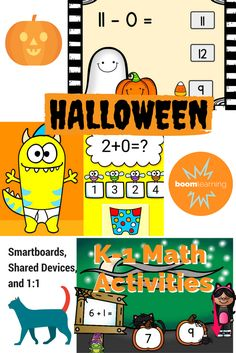 A cute collection of click and done fun from teacher authors available as self-grading digital activity cards at Boom Learning. No prep seasonal goodness for Smartboard centers, individual access on shared devices, or Flipped Classroom, Math Classroom, Kindergarten Math, Google Classroom, Classroom Ideas, Fun Math, Math Activities, Educational Activities, Halloween Math
