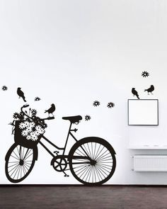A pretty girly bicycle decal, designed to show your love for cycling in the lap of nature. This Lady Bicycle wall-sticker is available on http://www.gloob.in/lady-bicycle.html Gloob wall-stickers are easy to apply, and are cost effective alternatives to wallpapers and other forms of wall art. Check out the complete range on www.gloob.in