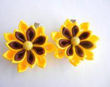 kanzashi flower, a set kanzashi hair clip, flower, kanzashi, kids hair clip, toddler hair clip, adult hair clip, flower hair clips