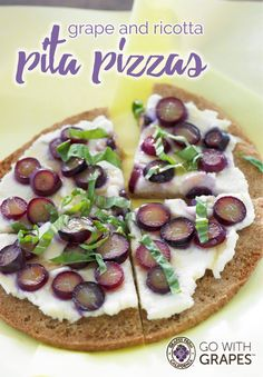 Delicious meatless Monday option…California Grapes and Ricotta Pita Pizzas - super simple, quick and yummy!  Go with grapes