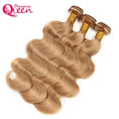 #27 Honey Blonde Body Wave Brazilian Human Hair Weave Bundles  No Remy Human Hair Extension Weave Dreaming Queen Hair Products
