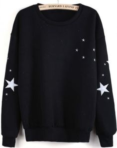 Black Long Sleeve Stars Embroidered Sweatshirt pictures