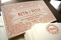 Letterpressed invite by Brooklyn-based stationer Golden Rectangle Press, featuring ornate florals and scroll work and flourished typography that remind us of Paris Metro signs.