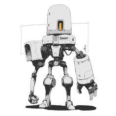 Shinypants - Art of Alan Blackwell Game Character Design, Character Concept, Character Art, Robot Concept Art, Weapon Concept Art, Robots Drawing, Robot Cartoon, Robots Characters, Arte Robot