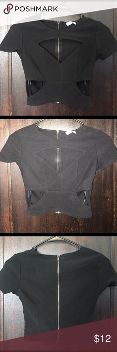 Black Tobi Crop Top Black crop Top with cut out detail and gold zipper up the back. Never worn. Tobi Tops Crop Tops