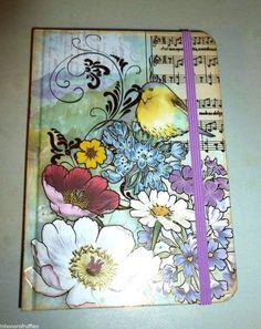 PUNCH STUDIO PLUM MUSICAL FLOWER MARKET BIRD DECORATIVE GOLD FOIL JOURNAL #PunchStudio