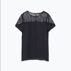 Zara Lace Top Super cute Zara lace top in navy. Round neck with 1 button in back and short sleeves. Small detail of lace around the bottom hem. New, never worn. No rips, tears or stains. Zara Tops