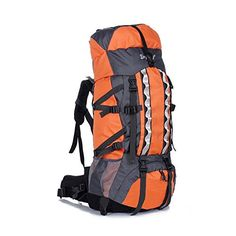 80L Waterproof Camping Backpack Internal Frame DayPack Orange * Click image to review more details.