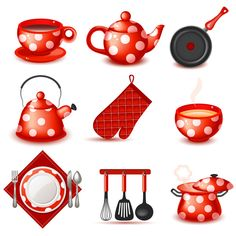 9 Cute Red Kitchen Icons Vector Set - http://www.dawnbrushes.com/9-cute-red-kitchen-icons-vector-set/