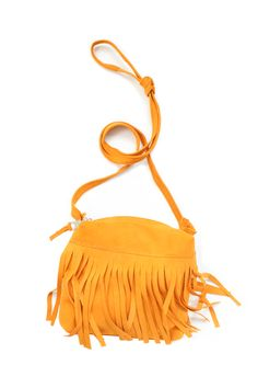 Small Boho Fringed Bag, Golden Yellow Suede, from Baba Souk