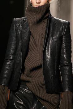 Knitwear & leather jacket