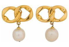 Chanel Iconic Chain Pearl Earrings