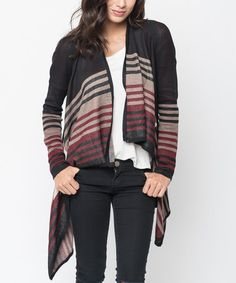 Another great find on #zulily! Black Stripe Hi-Low Open Cardigan - Women #zulilyfinds