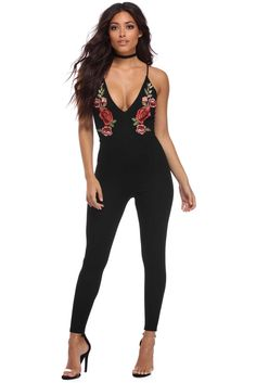 Black Showered With Flowers Jumpsuit | windsor
