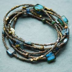 Long Beaded Necklace and Wrap Bracelet, Blue and Desert Sand, Artisan Glass, Vintage and Brass Beads. Diane from Petaluna on Etsy