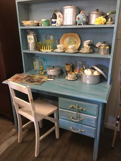 Timber desk and shelves in A wash of blues and greens with rope handles Kitchen Cart, I Shop, Blues, Kitten, Shelves, Desk, Vintage, Home Decor, Cute Kittens