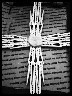 This is a unique cross made out of clothes pin. I place a rock I the middle and I still need I paint it the color of my choice . The rock will remain original color. It will go on my cross wall. Gifts of love made by juanita Bowling. Clothespin Cross, Wooden Clothespin Crafts, Vbs Crafts, Diy Arts And Crafts, Wood Crafts, Popsicle Stick Crafts, Craft Stick Crafts, Craft Ideas, Popsicle Sticks